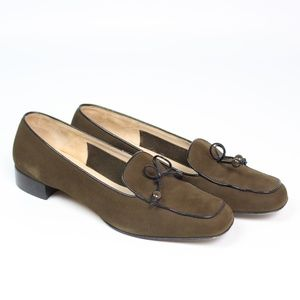 Salvatore Ferragamo brown suede loafers square toe
